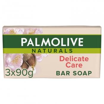 Jabón de manos en pastilla Almond & Milk Delicate Care Naturals Palmolive pack de 3 unidades de 90 g.