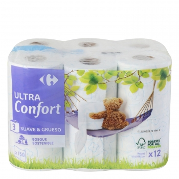 Papel higiénico 3 capas ultra confort Carrefour 12 rollos.