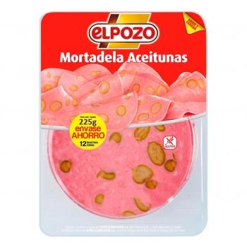 Mortadela con aceitunas lonchas El Pozo sin gluten 225 g.