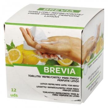 Toallitas refrescamtes para manos perfume limón Brevia 12 ud.