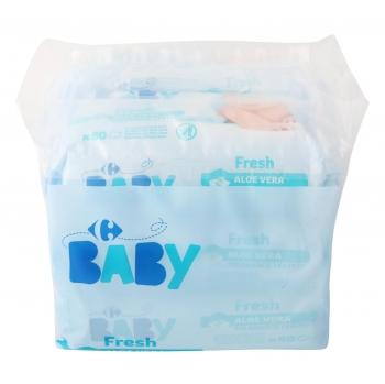 Toallitas bebé fresh aloe vera Carrefour Baby 6x80 uds.
