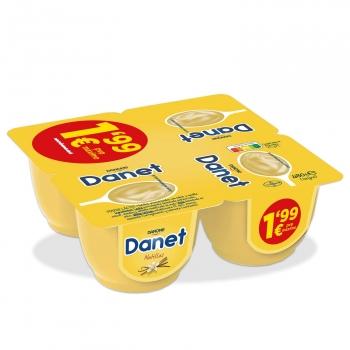 Natillas de vainilla Danone Danet sin gluten pack de 4 unidades de 120 g.