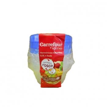 Bote Redondo de Plástico CARREFOUR HOME Carrefour 0,5l 3ud - Bicolor