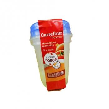 Bote Redondo de Plástico CARREFOUR HOME 1 l 2 ud - Bicolor