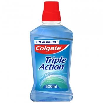 Enjuague bucal triple action Colgate 500 ml.