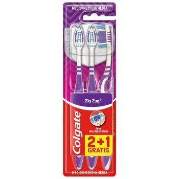 Cepillo de dientes medio en zigzag limpieza profunda Colgate 2+1 ud.