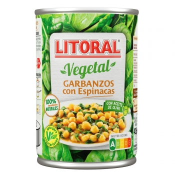 Garbanzos con espinacas Litoral 425 g.
