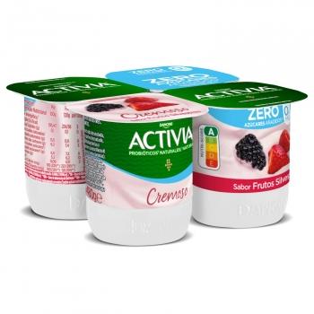 Yogur bífidus desnatado cremoso de frutos silvestres Danone Activia sin gluten pack de 4 unidades de 120 g.