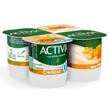 Yogur bífidus desnatado cremoso de mango Danone Activia sin gluten pack de 4 unidades de 120 g.