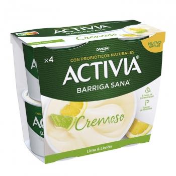 Yogur bífidus cremoso de lima y limón Danone Activia sin gluten pack de 4 unidades de 120 g.