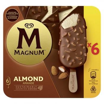 Bombón helado de vainilla con almendras Magnum sin gluten 6 ud.