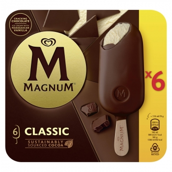 Bombón helado de vainilla con chocolate con leche Magnum sin gluten 6 ud.