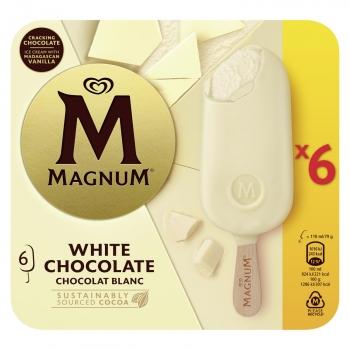 Bombón helado de vainilla con chocolate blanco Magnum sin gluten 6 ud.