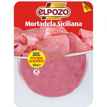 Mortadela siciliana em lonchas El Pozo si gluten 225 g.