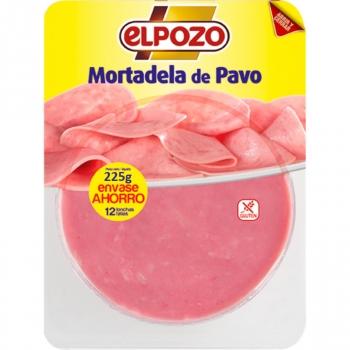 Mortadela de pavo en lonchas El Pozo sin gluten 225 g.