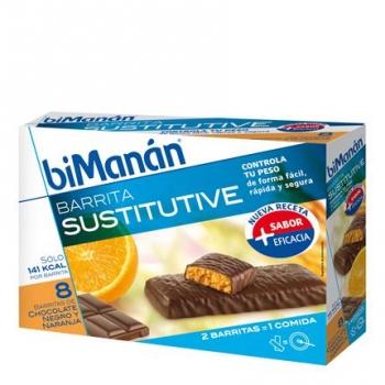 Barritas sustitutive chocolate negro y naranja Bimanán 8 ud.