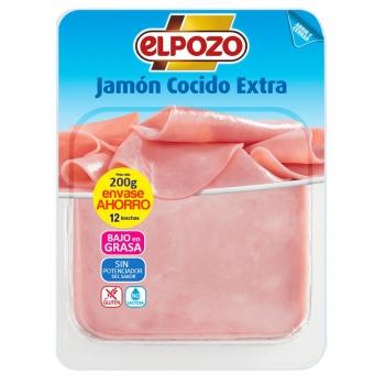 Jamón cocido extra en lonchas El Pozo sin lactosa 200 g.