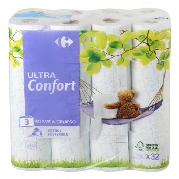 Papel higiénico 3 capas ultra confort Carrefour 32 rollos.