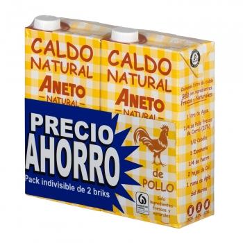 Caldo natural de pollo Aneto sin gluten y sin lactosa pack de 2 briks de 1 l.