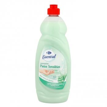 Lavavajillas a mano pieles sensibles aloe vera y jojoba Carrefour Essential 750 ml.