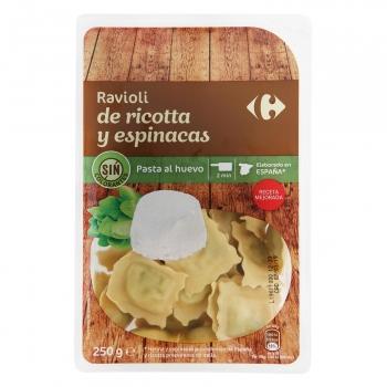 Ravioli de ricotta y espinacas al huevo Carrefour 250 g.