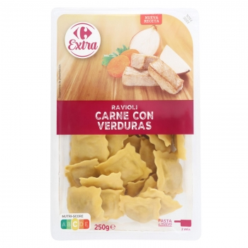 Ravioli de carne con verduras Carrefour Extra 250 g.
