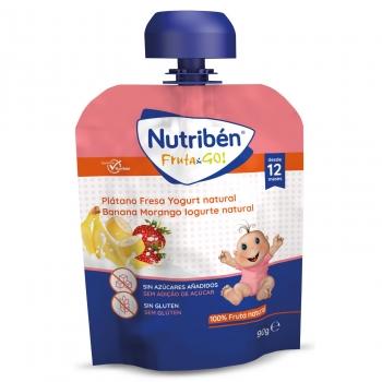 Preparado de fresa y plátano con yogur natural desde 12 meses Fruta&Go Nutriben bolsita de 90 gr