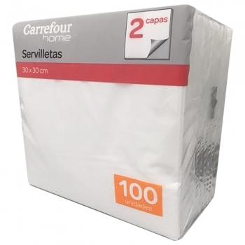 Servilletas 2 capas de Celulosa CARREFOUR HOME 100 ud - Blanco