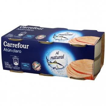 Atún claro al natural Carrefour pack de 6 latas de 56 g.