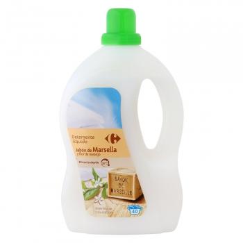Detergente líquido con jabón de Marsella y flor de naranjo Carrefour 40 lavados.