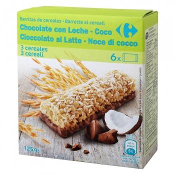Barritas de cereales con chocolate con leche y coco Carrefour 6 unidades de 20,83 g.