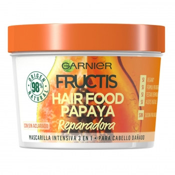 Mascarilla capilar 3 en 1 Hair Food Papaya Reparadora Para cabello dañado Garnier Fructis 390 ml.