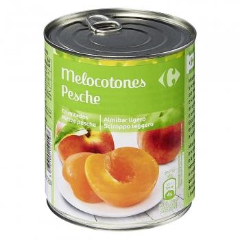 Melocotón en almíbar ligero en mitades Carrefour 480 g.