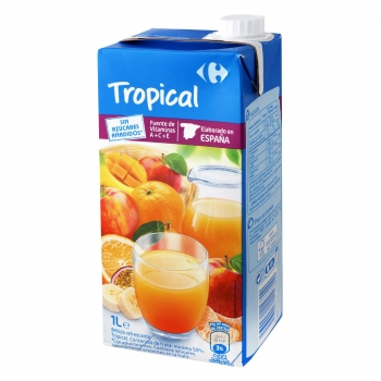 Zumo tropical Carrefour sin azúcar añadido brik 1 l.