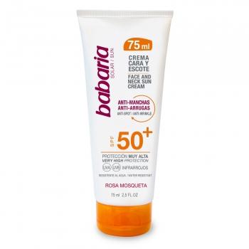 Crema facial solar F-50+ anti-manchas anti-arrugas con rosa mosqueta Babaria 75 ml.