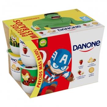 Yogur de fresa, macedonia, galleta y fresa-plátano Danone sin gluten pack de 12 unidades de 120 g.
