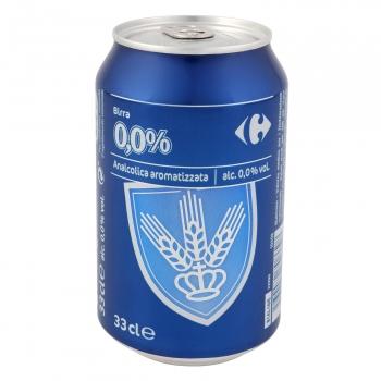 Cerveza 0,0% alcohol Carrefour lata 33 cl.