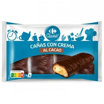 Cañas de chocolate con relleno de crema Carrefour 380 g.