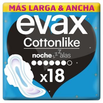 Compresas noche con alas Cottonlike Evax 18 ud.