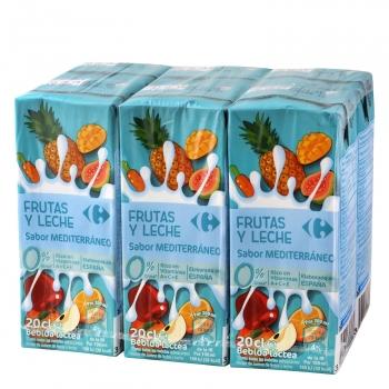 Zumo de frutas y leche Carrefour sabor mediterráneo pack de 6 briks de 20 cl.