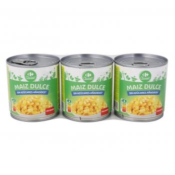 Maíz Dulce Carrefour pack de 3unidades de 140 g.