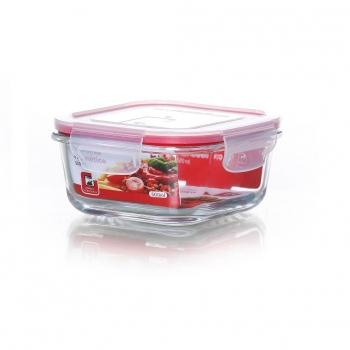 Recipiente Hermético Cuadrado  de Cristal 0,5 L. - Transparente. Outlet. Producto Reacondicionado