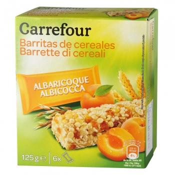 Barritas de cereales con albaricoque Carrefour 125 g.