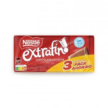 Chocolate con leche extrafino Nestlé sin gluten pack de 3 tabletas de 125 g.