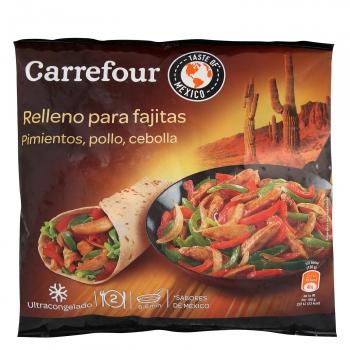 Relleno para fajitas de pimientos, pollo y cebolla Carrefour 300 g.