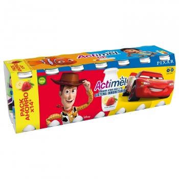 Yogur líquido con fresa y plátano Danone Actimel Kids sin gluten pack de 14 unidades de 100 g.