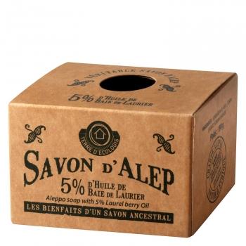 Jabón de manos en pastilla alepo auténtico con 5% laurel Terre D' Ecologis 190 g.