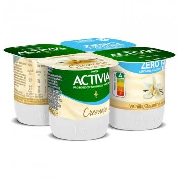 Yogur bífidus desnatado cremoso de vainilla de madagascar Danone Activia pack de 4 unidades de 120 g.