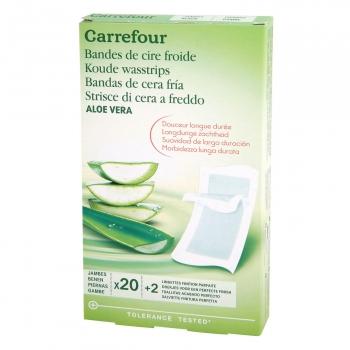 Bandas depilatorias corporales de cera fría con aloe vera Carrefour 20 ud.
