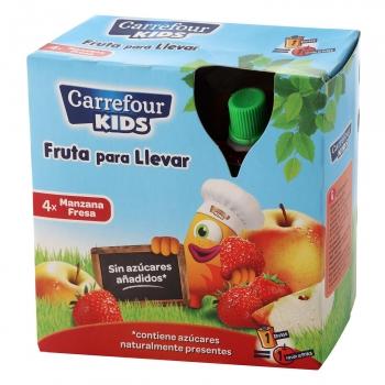 Compota de manzana y fresa Carrefour Kids pack de 4 bolsitas de 90 g.